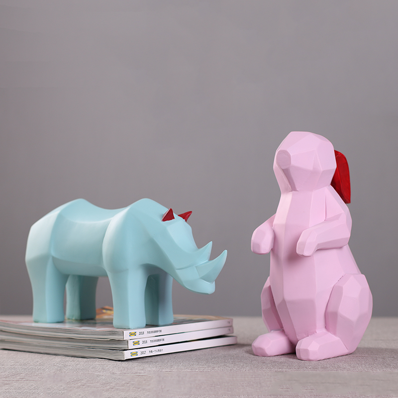 Unique abstract art cute pink rabbit resin decoration statue Fun geometric blue rhino desktop sculpture Red paper crane