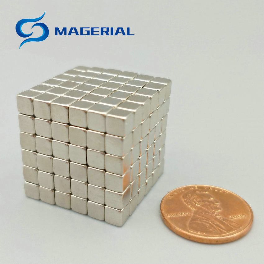 216 pcs/lot NdFeB Magnet N42 Block 4x4x4 mm Magnetic Cube Magic Toy Neodymium Magnets Rare Earth Magnets Permanent creative mk1003 magnetic mud decompression plasticine toy with cube magnet