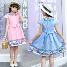 High Quality Kids Blue Pink Peter Pan Collar Dress For Girls Baby Dresses Baby Flower Girl Dress With Bow Japanese Baby Clothes new arrival baby dress 2017 spring summer casual style baby girls dress bow baby dress turn down collar kids clothes