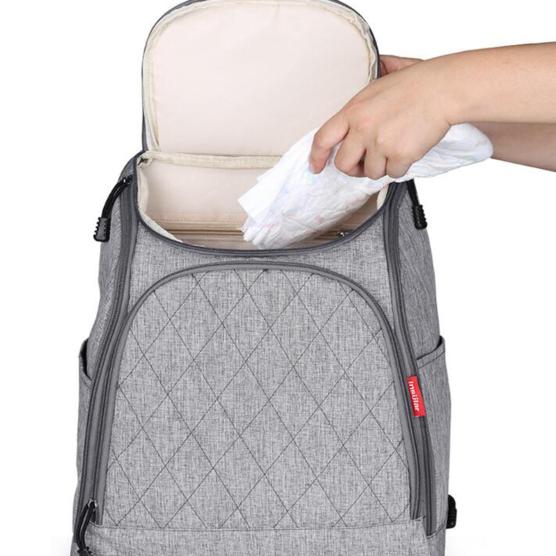 2019 Hot Sell Quilted Cotton Canvas Diaper Bags Big Capacity Diaper Backpacks in Backpacks from Luggage Bags