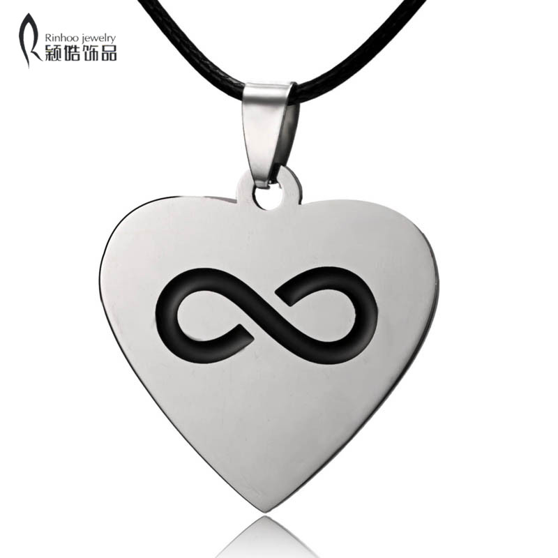Men Women Stainless Steel Engraved Custom Infinite Heart Love Necklace Pandant Rope Chain Jewelry Father Mothers Day Gift