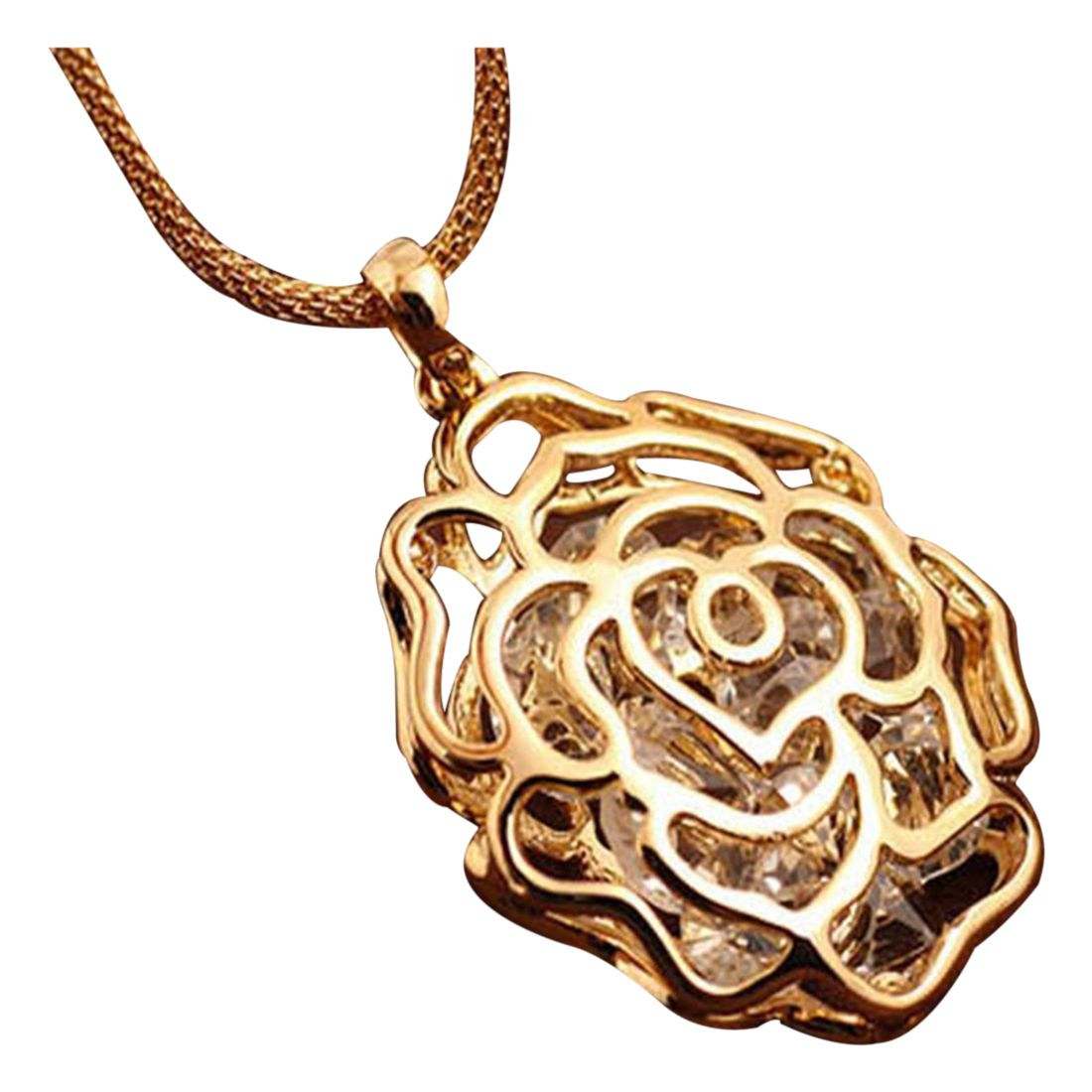 Women Gold Hollow Rose Flower Crystal Rhinestone Pendant Long Chain Necklace