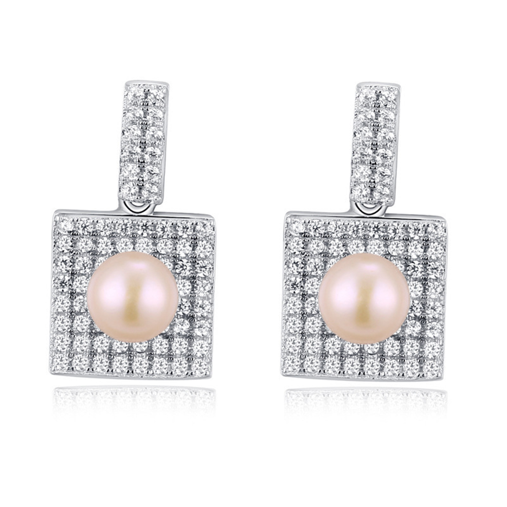 Authentic 925 Sterling Silver Jewelry Pearl Earrings For Women Wedding  Party Fashion Square Pearl Jewelry Crystal