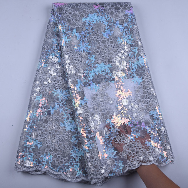 2019 High Quality Sequins African Nigeria Lace Fabric High Quality Sequins French Tulle Lace Fabric For Wedding PartyA1592