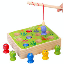 Solid wood children 3D stereo fishing toy set boys girls Wooden kitten fishing game magnetic fishing toys baby Teaching toy gift fishing game toy set music rotating board 4 fishing poles game for children yjs dropship