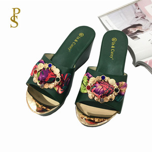 Image 3 - Women wedges slippers Comfortable PU sole high heel for women