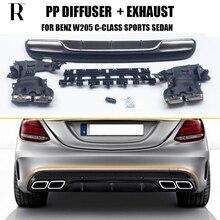 купить W205 Change to C63 Style PP Rear Diffuser with exhaust muffler tips for Benz W205 C-class C180 C200 C220 C260 C300 2015 UP дешево