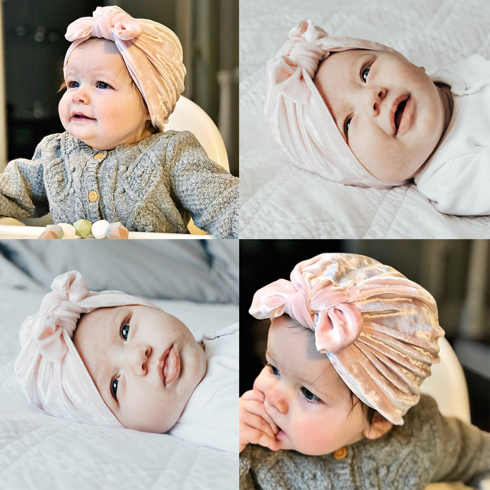 Lovely Rabbit Ear Baby Hats Children Kids Boys Girls Top Knot   Beanies   Hat Caps Toddler Soft Flannel Warm Winter Cap Bonnet