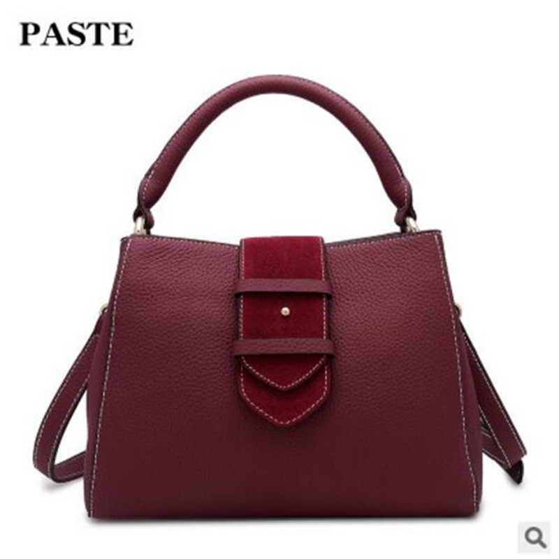 PASTE New Wide Shoulder Strap Shoulder Bag 2018 Spring Fashion Wild Leather Handbag First Layer of Leather Hand Messenger Bag new korean version of the first layer of leather pillow bag large lychee pattern handbag shoulder messenger fashion leather leat