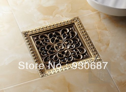 ФОТО Antique Brass 12cm Square Bath Floor Drain Art Carved Flower Shower Strainer