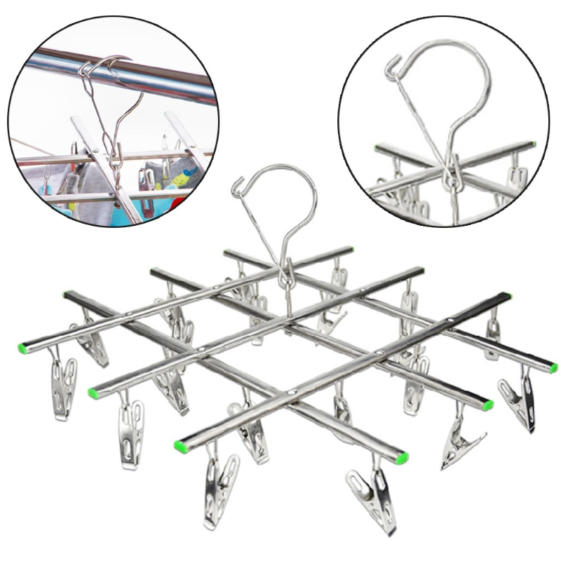 Windproof Laundry Hanger Collapsible Stainless Steel Hanging Rack 20 Clothespin Clothes Tie Socks Clips Hanging Rack