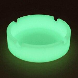 Luminous Silicone Gel Ashtray Light Circular Ashtray New Fluorescent Smoke Convenient Cigarette Case Drop Creative Ashtrays(China)