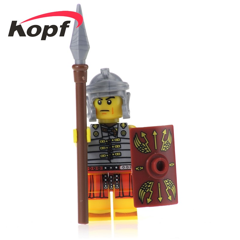 Single Sale Gladiatus Medieval Knights Rome Commander Elf Hunter Action War Building Blocks Bricks Figures For Kids Toys XH 436