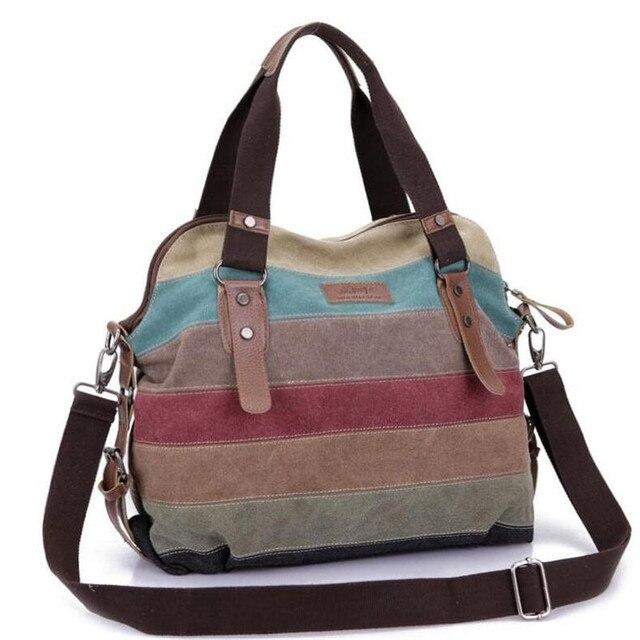 Rainbow Color Moda Messenger Bags Canvas Super patchwork bolsa 2016 Totes Casual Bolsas de Ombro Bolsas Sacola de Compras