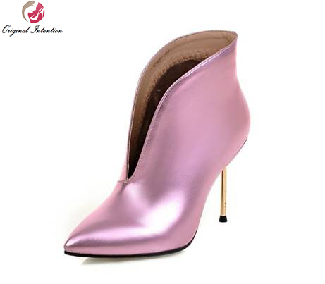 Original Intention Sexy Women Ankle Boots Pointed Toe Thin Heels Boots Black White Pink Silver Red Shoes Woman US Size 3-10.5 цены онлайн