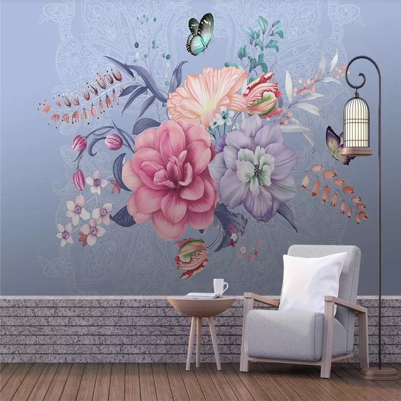Custom 3d murals minimalist hand-painted floral butterfly background wall decoration painting wallpaper mural photo