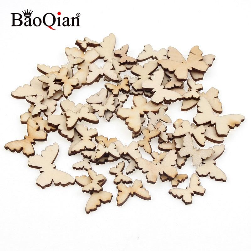 60pcs Natural Wooden Mixed Size Butterflies Cutouts DIY Wood Craft Embellishments Scrapbooking Art Wedding Decoration