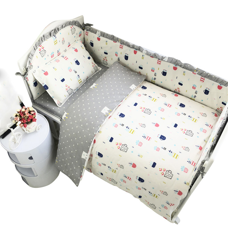 7Pcs Cotton Baby Bedding Set 100% Cotton Crib Bedding Set Baby Cot Protector Safe Bumpers Bed Sheet Quilt Cover Pillowcase image