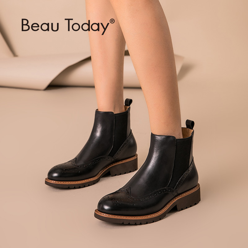 BeauToday Chelsea Boots Women Brogue Style Genuine Cow Leather Round Toe Spring Autumn Lady Ankle Shoes