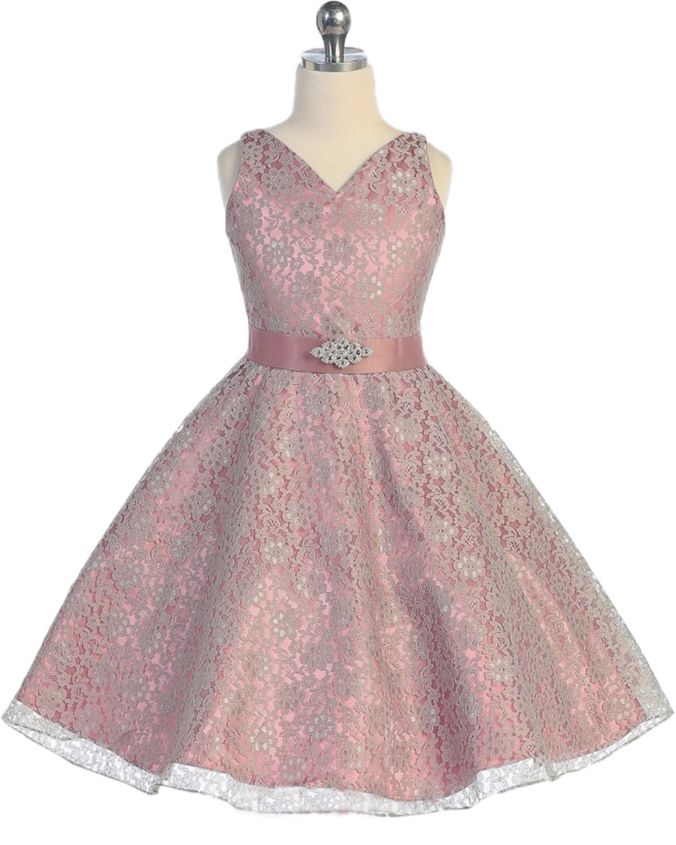 ФОТО Elegant Fushia Pink Floral Dress V-neck Tea Length Scattered Lace Flower with Satin Ribbon Pageant Dresses for Little Girls 2-12