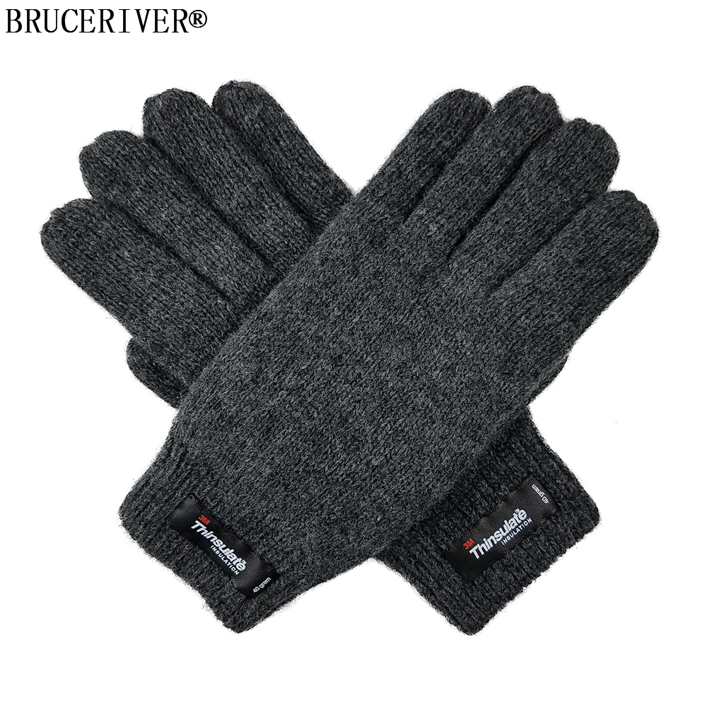 Bruceriver Women's Pure Wool Knitted Gloves With Thinsulate Lining And Rib Cuff