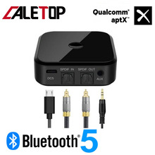 CALETOP APTX Bluetooth 5.0 Adapter Wireless Receiver and Transmitter For TV PC Speaker HIFI Audio 3.5mm SPDIF Optical Fiber