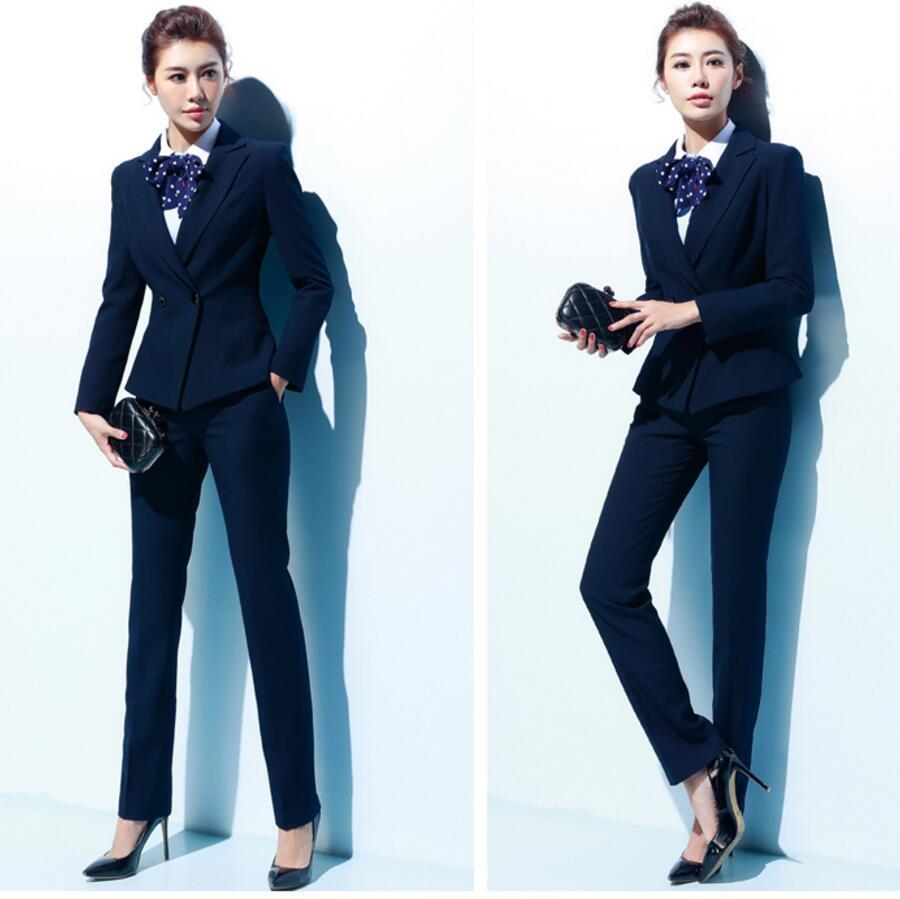 Autumn and winter woman suit cultivate ones morality dress two-piece suit stewardess uniform OL overalls formal suit