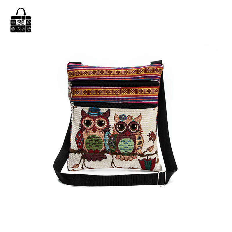 RoseDiary New fashion National wind owl embroidered weaving cloth Double zipper Handbags Shoulder Bag Women girl messenger bags