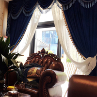 Helen Curtain Velvet Fabric European Design Curtain For Living Room Luxury Valance Curtain For Bedroom Window Treatment