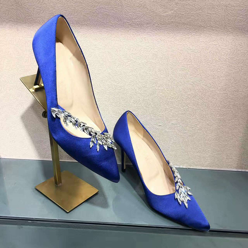 Pointed Toe Wheat Rhinestone Embellished Women Pumps Sexy High Thin Heel Slip On Shallow Runway Star Stiletto Dress Party Shoes satin metal leaves embellished women pumps pointed toe shallow thin high heel party dress stiletto wedding party runway shoes