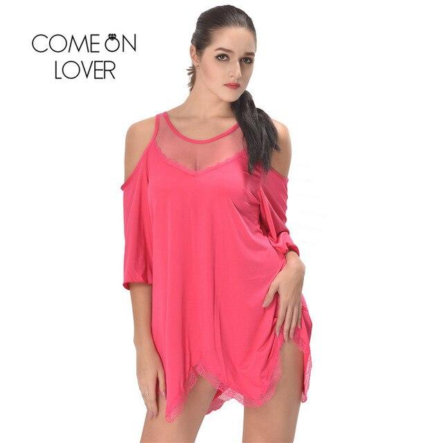 RI80190 Comeonlover Women Pajamas Sleepwear Plus Size Lingerie 5XL,7XL Hollow Shoulder Nightdress Exotic Sexy Lingerie Babydolls 3