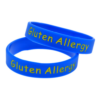 1PC Alert Gluten Allergy Silicone Wristband for Daily Reminder Kid Size 1