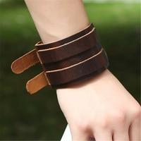 Vintage Genuine Leather Bracelets Quality Punk Wide Belt Charm Bracelets & Bangle for Men Adjustable Belt Clasp Friend Gifts