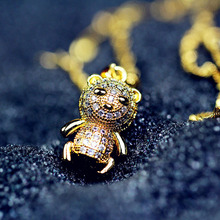 MMS Luxury AAA Zircon Paved Gold Little Tiger Pendant 18K Gold Plated animal Short Necklace No Fade