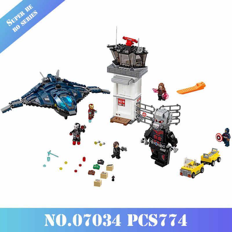 Mailackers 07034 774 шт. Legoing Marvel серии Classic Мстители супер герой Airport битва антман Железный