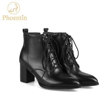 542c76bb Phoentin PU encaje-up botas de tobillo de mujer Tacón cuadrado 6 cm botas  de pantorrilla puntiagudas zapatos abiertos con cremallera lateral novedad  mujer ...