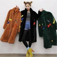 2016 apliques carta bordado peludo salsicha longo casaco de pele do falso de alta qualidade feminino lapela casaco longo manter quente outerwear