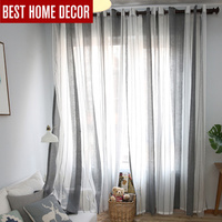 Elka cortinas de ventana escarpada de tul a rayas de lino moderno para sala de estar cortinas de gasa de dormitorio|window curtain for living|sheer window curtain|curtains for -
