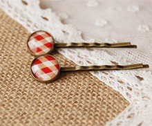 Urban Youth Red White Scottish Tartan Print Glass Cabochon Hairpins for Girls Women Simple Copper Hair