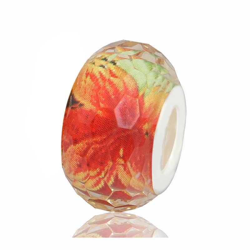 Европейский роскошный красочный цветок Кот коготь трещина полоса бусины из муранского стекла подходят оригинальные Pandora Подвески бусины для женщин подарок DIY ювелирные изделия