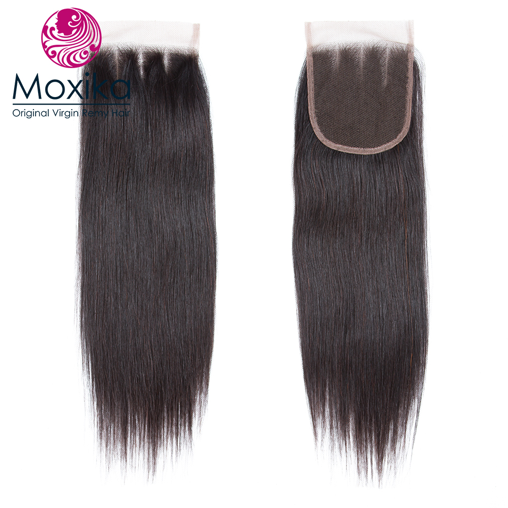 Moxika Hair Peruvian virgin Human Hair With Closure Straight 4 x 4 Three Part Pre Plucked