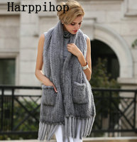 fashion super long 100% real knitted mink fur scarf Manual lady warm genuine fur shawl for cold winter womenblue diamond color