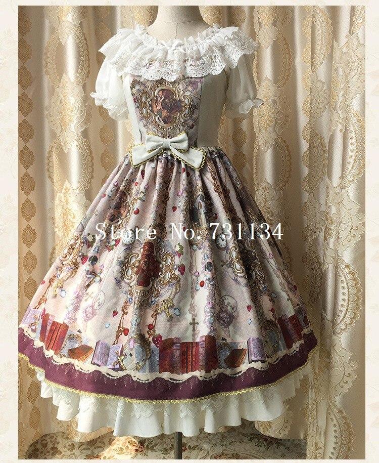 Robe A Lolita Femmes Et Picture as Vintage Trois Dentelle 2016 Sweet Spaghetti Marque Pour Élastique New Picture Haute As Strap Imprimer Couleurs 8kwPn0O
