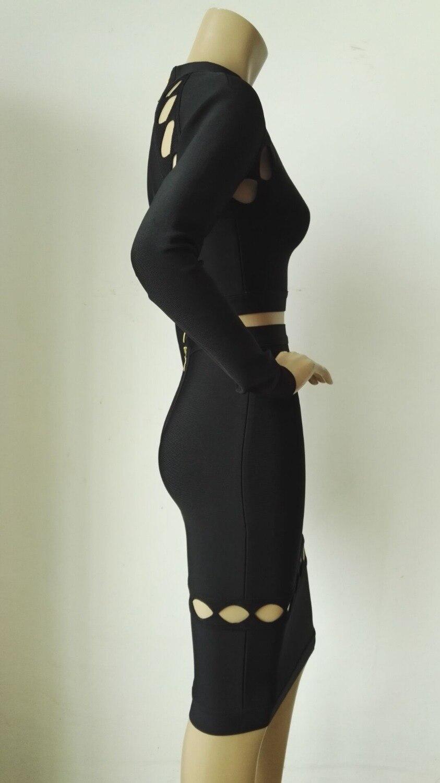 Sexy En Gros Out De Moulante Longues Soirée Qualité 2 Robe Bandage Noir Manches Cut Haute Femmes 2016 Pièce Robes D'hiver fFCnZwFq