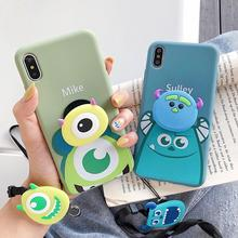Lanyard stand Cute Cartoon Phone case For iPhone XS Max XR 6 6s 7 8 Plus X Silicon Soft toy Doll Big eyes Cover cases Fundas