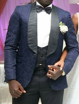 One Button Navy Blue Paisley Groom Tuxedos Shawl Lapel Groomsmen Mens Wedding Prom Suits (Jacket+Pants+Vest+Tie) NO:231