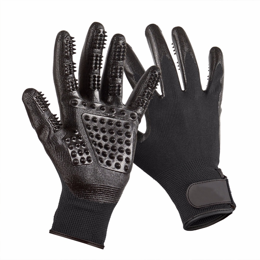 Schwarz Pet Reinigungsbürste Tierpflegehandschuh Hund Lieferungen Katze Hund BrushFive Finger Silikon Massage Handschuhe Reinigung Haar Kamm