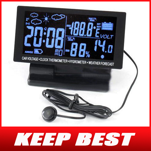 LCD Digital Clock Car Thermometer Hygrometer Voltage Weather Forecast DC 12V Free Shipping