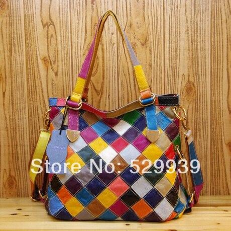 Fashion Elegance Las Handbag Natural S Leather Handmade Handbags Plaid Shoulder Bag