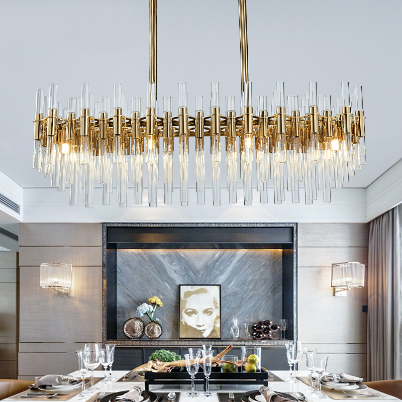 US $672.4 18% OFF|Luxury Gold LED Chandelier Lamp For Dining Room Rectangle  Modern Living Room Lighting Fixture Glass Tube Lampshade Chandeliers-in ...